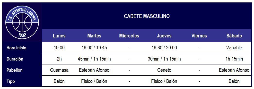 2017-18 CBJL - Horario Cadete Masc