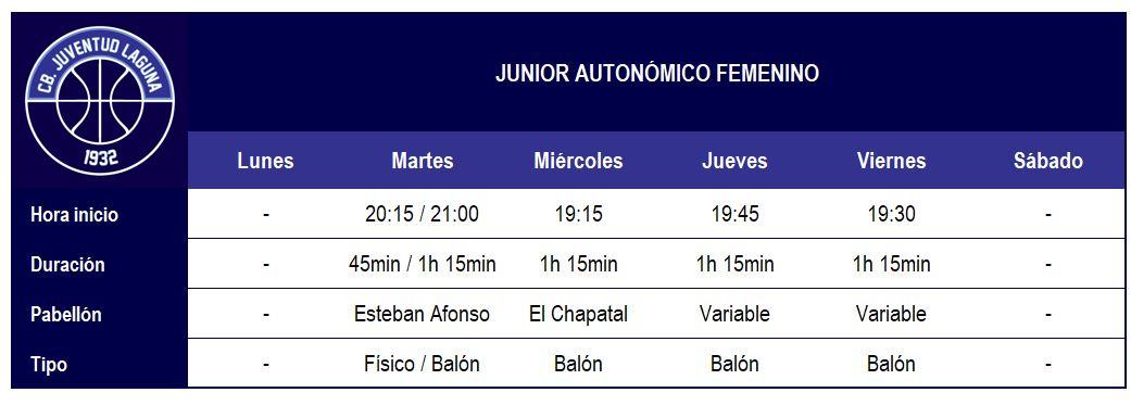 2017-18 CBJL - Horario Junior Aut Fem