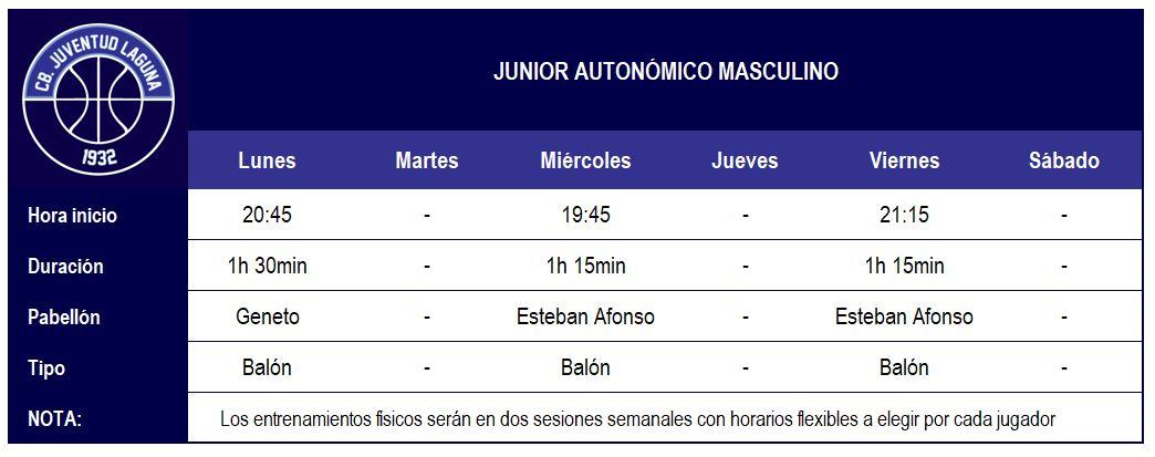 2017-18 CBJL - Horario Junior Aut Masc