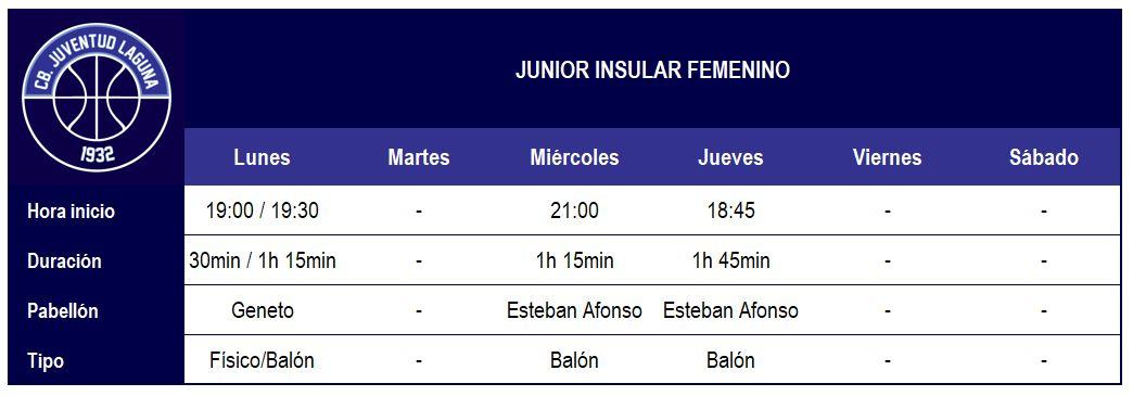 2017-18 CBJL - Horario Junior Ins Fem