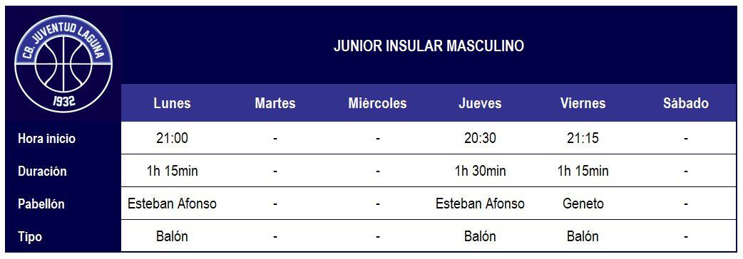 2017-18 CBJL - Horario Junior Ins Masc
