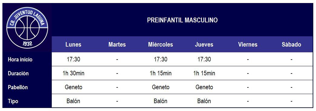 2017-18 CBJL - Horario Preinfatil Masc