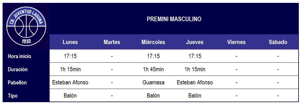 2017-18 CBJL - Horario Premini Masc